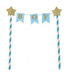 Taarttopper Gold Star vlaggenlijn Boy blauw met goud