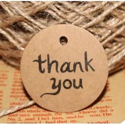Pak met 100 ronde kraft bedankkaartjes Thank You met vintage touw