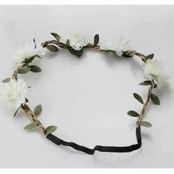 Trendy bohemian gevlochten haarbandje met blaadjes en witte bloemetjes