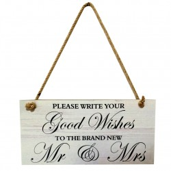 Houten bord Please Write Your good Wishes to the brand new Mr & Mrs