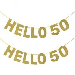 Set met 2 letterbanners Hello 50 in gouden glitterletters