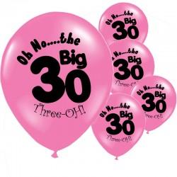Pak met 10 roze ballonnen met de tekst The Big 30