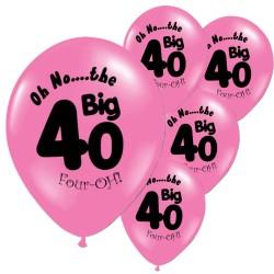 Pak met 10 roze ballonnen met de tekst The Big 40
