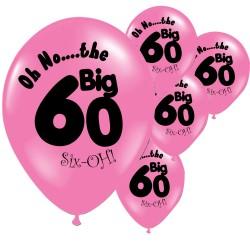 Pak met 10 roze ballonnen met de tekst The Big 60