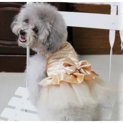 Champagnekleurige bruidsjurk voor honden met tutu rok en glitter bewerking op het lijfje