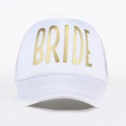 Prachtige cap wit met in goudfolie de tekst Bride