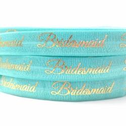 Elastische armband turquoise met goudfolie opdruk Bridesmaid
