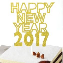 Feestelijke goud glitter taart topper Happy New Year 2017