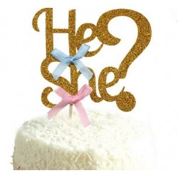 He or She taart topper voor een gender reveal party