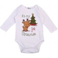 Baby romper met lange mouwen wit met de tekst It's My first Christmas