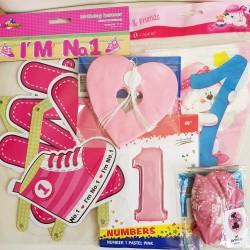 Decoratief en vrolijk 1e verjaardags pakket roze