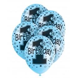 Pak met 5 ballonnen met zwarte opdruk 1st Birthday blauw