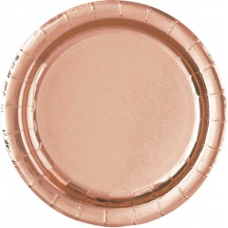 Pak met 8 bordjes met een diameter van 22,5 cm rose goud