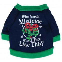 Kerst trui voor de hond met de tekst Who needs Mistletoe with a face like this