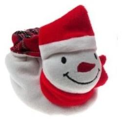 Super schattige kerst velours slofjes sneeuwpop in de maat 0-6 maanden