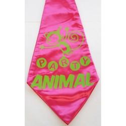 Grote stropdas roze met de tekst Party Animal