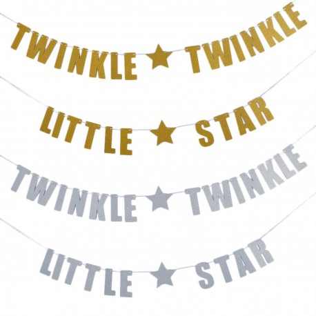 Gouden of zilveren letterslinger Twinkle Twinkle Little Star