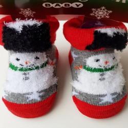 Baby kerst sokjes newborn Sneeuwpop