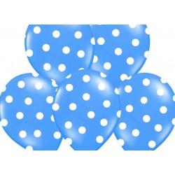Ballonnen blauw met witte stippen per 6 of 50 stuks