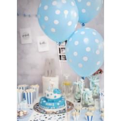 Ballonnen pastel baby blauw met witte stippen per 6 of 50 stuks