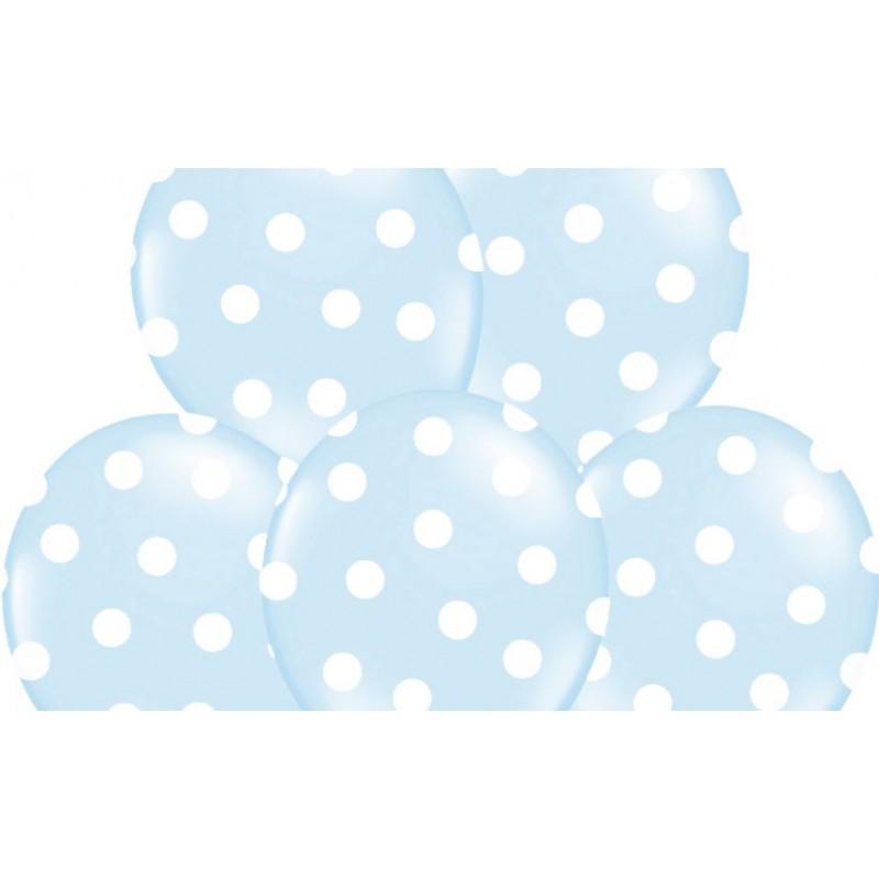 6 Witte Stoelhoezen.Ballonnen Pastel Baby Blauw Met Witte Stippen Per 6 Of 50 Stuks