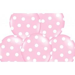 Ballonnen licht roze met witte stippen per 6 of 50 stuks
