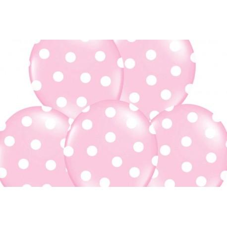 6 Witte Stoelhoezen.Ballonnen Licht Roze Met Witte Stippen Per 6 Of 50 Stuks