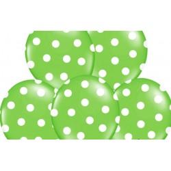 Ballonnen groen met witte stippen per 6 of 50 stuks