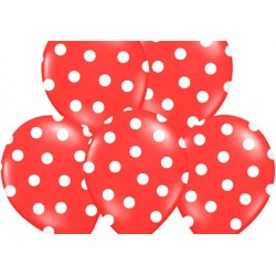 Ballonnen rood met witte stippen per 6 of 50 stuks