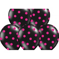 Ballonnen zwart met roze stippen per 6 of 50 stuks