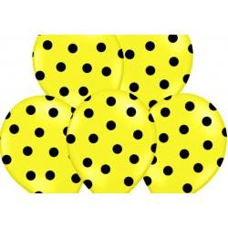 Ballonnen geel met zwarte stippen per 6 of 50 stuks
