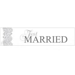 Kartonnen nummerbord Just Married zilver