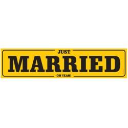 Kartonnen nummerbord Just Married geel