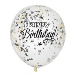 Happy birthday confetti ballonnen in de kleuren goud met zwart