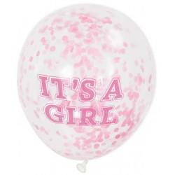 Doorzichtige confetti ballonnen met de tekst It's a Girl