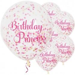 Doorzichtige confetti ballonnen met de tekst Birthday Princess