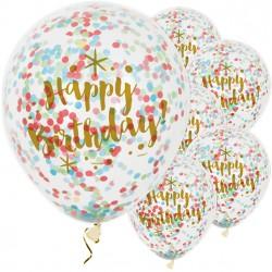Happy birthday confetti ballonnen gekleurd met goud opdruk