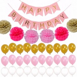 Happy Birthday 28-delige decorate set roze, goud en wit