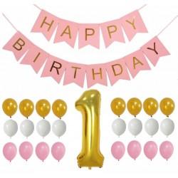 Happy First Birthday Girl 32-delige decoratie set roze, goud en wit