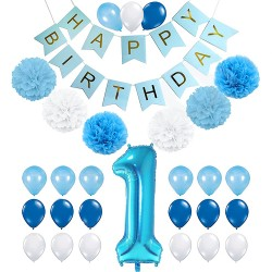 Happy First Birthday Boy 32-delige decoratie set licht blauw, goud en wit