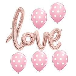 Bijzonder trendy decoratie pakket pakket met 6 gestippelde ballonnen en Love XL folieballonnen rosé goud
