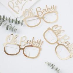 Set met 8 brillen Oh Baby goud folie