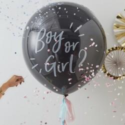 Big Balloon Boy or Girl zwart met witte tekst met 2 kleuren confetti en 4 tassels