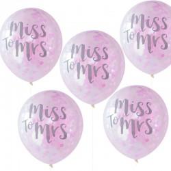 Pak met 5 ballonnen met confetti en de tekst Team Bride roze