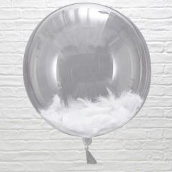 Pak met drie fantastisch mooie ronde met witte veren gevulde reuze ballonnen Beautiful Botanics