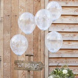 Pak met 5 witte confetti ballonnen Rustic Country