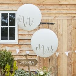 Set met 2 jumbo ballonnen met in een prachtige kleur de tekst Mr en Mrs er op