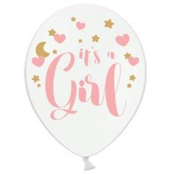 Ballon wit met in roze letters de tekst It's a Girl en hartjes en decoratieve gouden sterretjes en maan