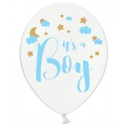 Ballon wit met in blauwe letters de tekst It's a Boy en wolkjes en decoratieve gouden sterretjes en maan