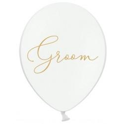 Ballon wit met in sierlijke gouden letters Groom